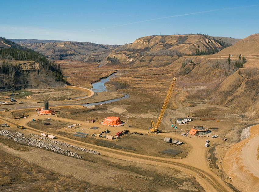 The Site C reservoir will cover the existing highway, requiring the highway realignment and a new bridge across Cache Creek. Here, the bridge is shown under construction. (April 2021)