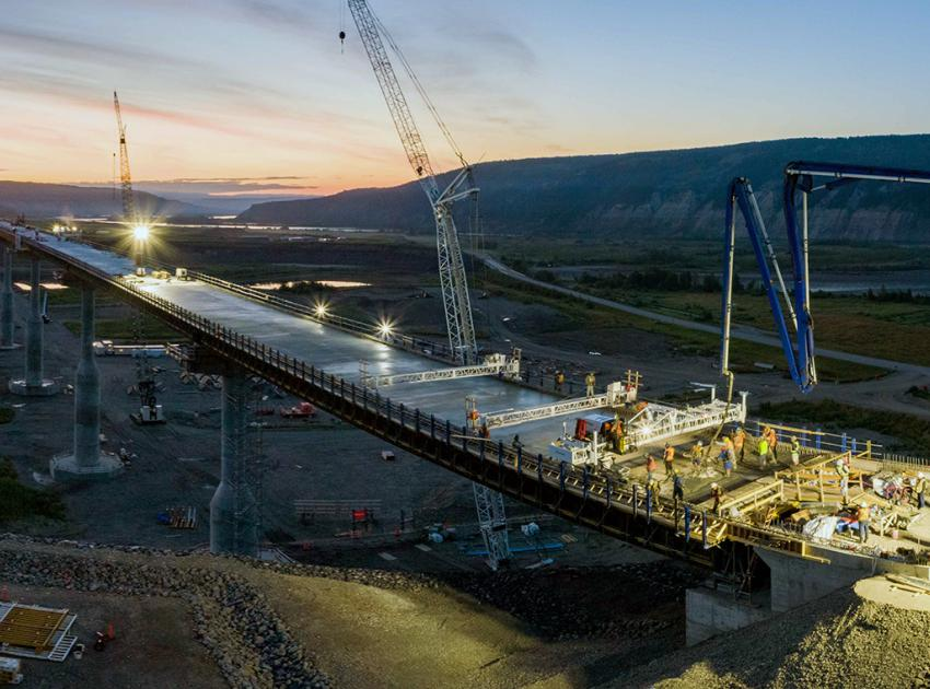 It took 2,300 cubic metres of concrete poured in 13 segments, to complete the deck of the Halfway River bridge. (August 2021)
