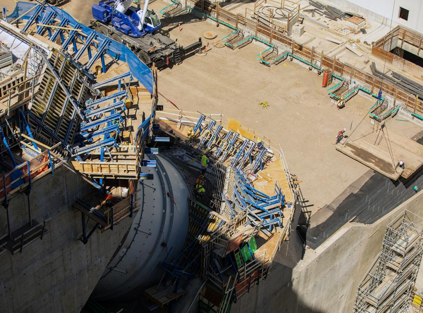 Backfilling with granular material is ongoing in the powerhouse yard where the elevation will be at the same level as the powerhouse floor. (August 2021)