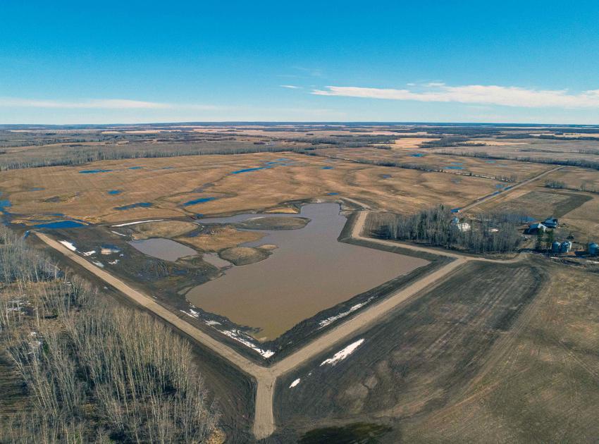 An aerial view of the main basin at the restored Golata Creek wetlands. (April 2020)