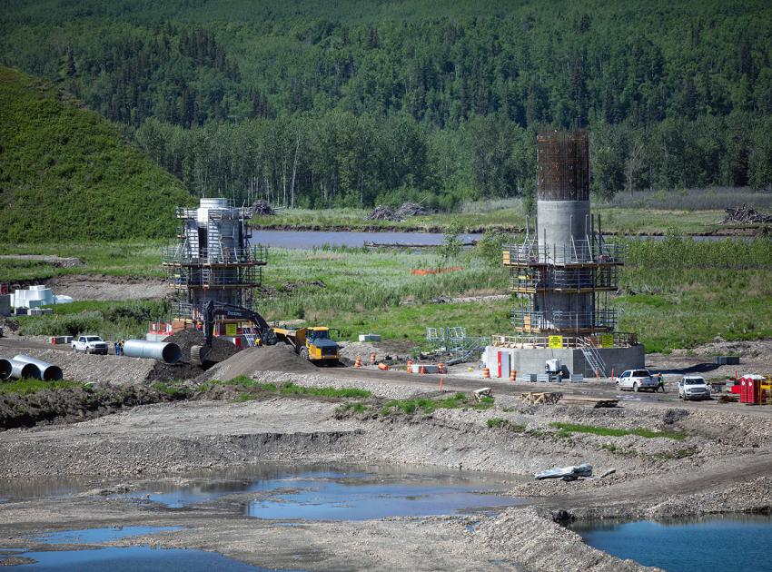 Highway 29 realignment at Halfway River, where nine of the 12 bridge piers are under construction. (June 2020)