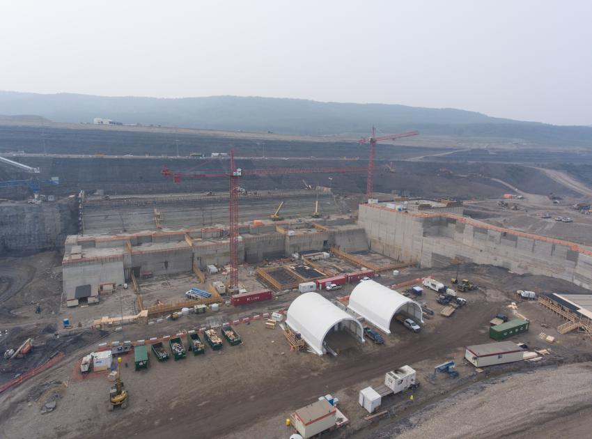 Powerhouse buttress and GSS civil works laydown area (August 2018)