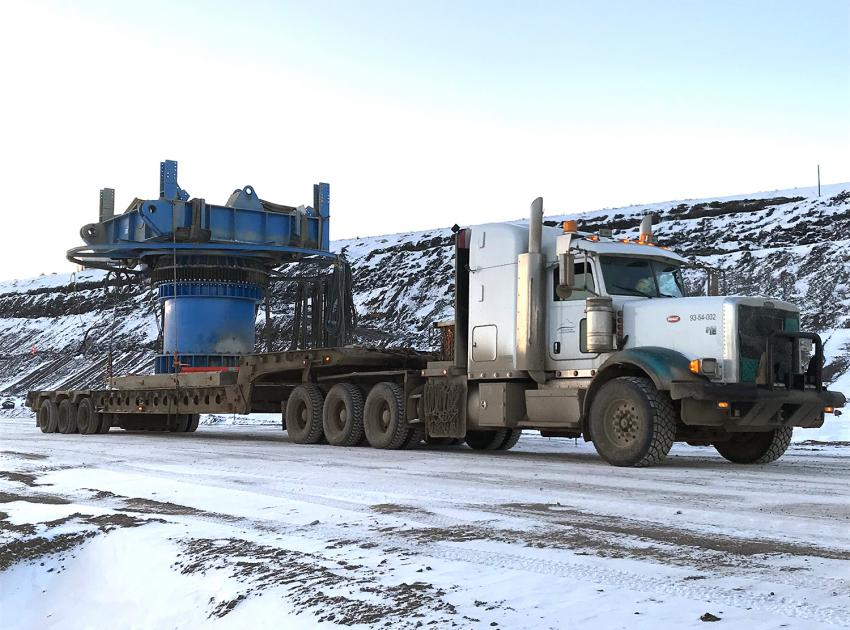 Truck transporting a section of a conveyor (November 2018)
