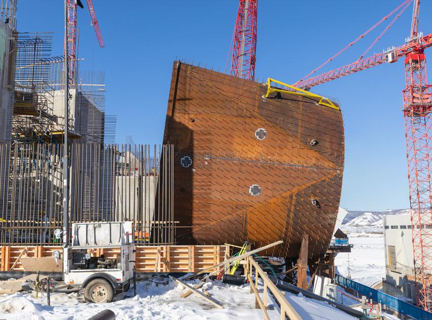 Side view of the Unit 5 penstock transition piece. (February 2020)