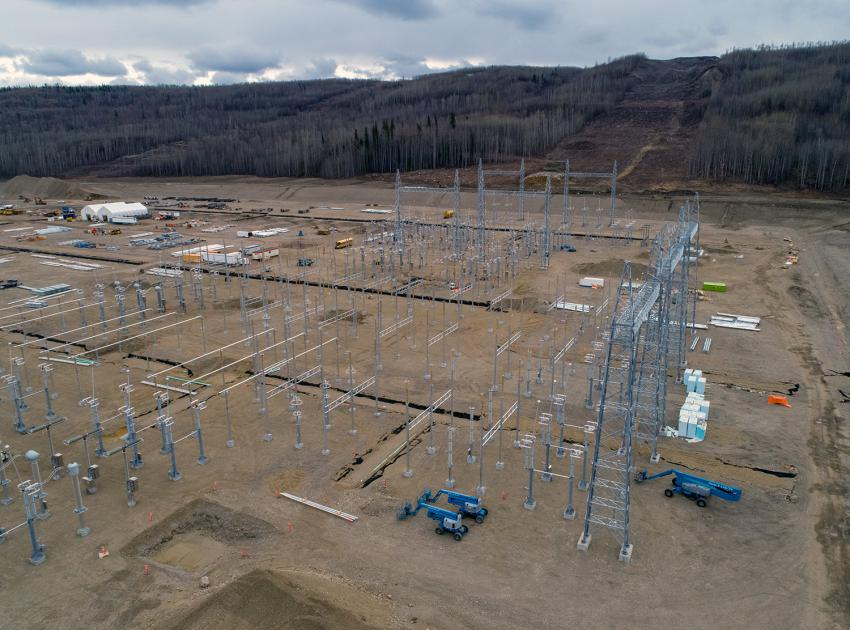 Construction of the Site C substation 500 kV switchyard. The structural steel and equipment installations are in progress. (Spring 2019)