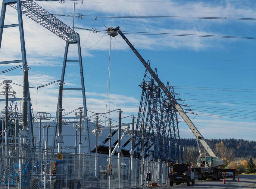 Crews complete the first of two new 75-kilometre-long 500kV transmission lines connecting the Site C substation to the rest of BC Hydro's transmission system at the Peace Canyon substation and were energized on October 9, 2020. (October 2020)