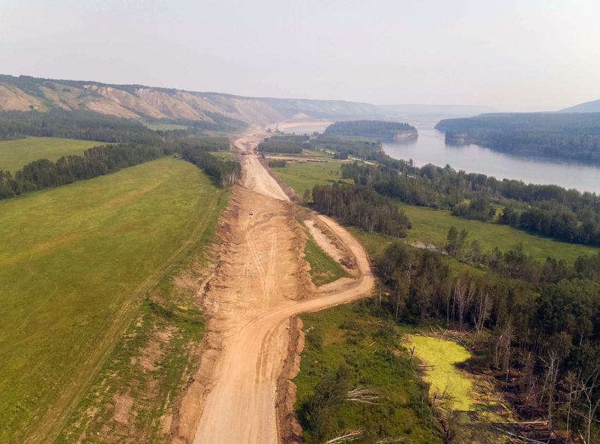 The east section of the Lynx Creek Highway 29 alignment is under construction to the north of the existing highway. (July 2021)