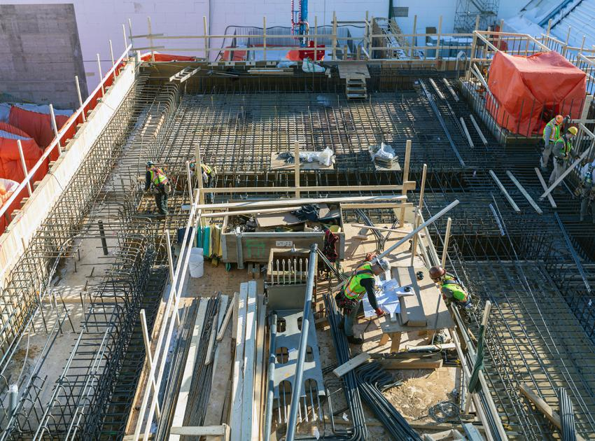Rebar work in progress in preparation to pour concrete at Unit 6. (February 2020)