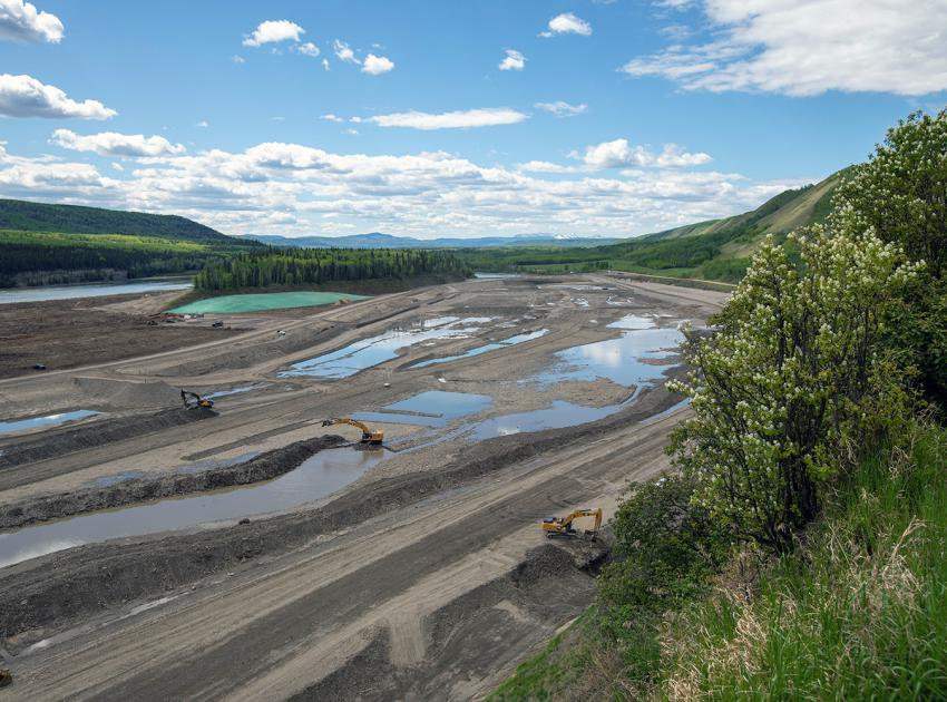 Gravel extraction and embankment construction on the Highway 29 realignment near Dry Creek. (May 2020)