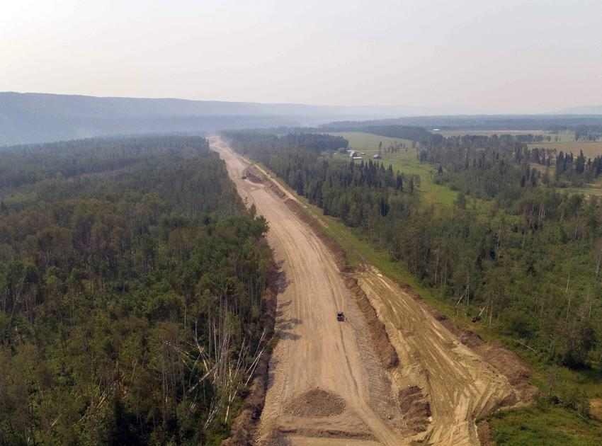 Clearing and grubbing is completed for the Lynx Creek alignment on Highway 29. (July 2021)