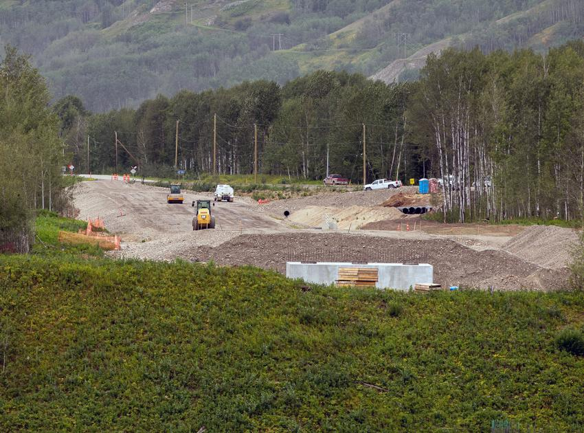 Placement of the granular sub-base for the Farrell Creek road realignment along Highway 29. (August 2021)