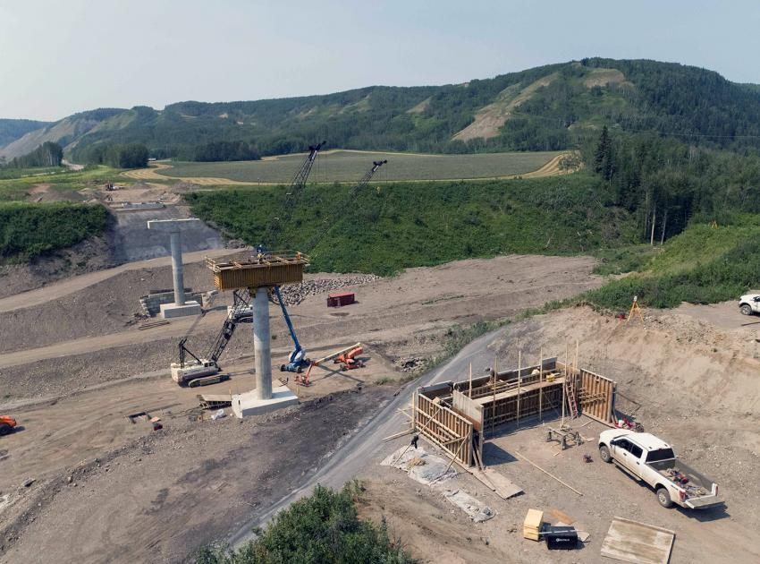 Bridge formwork is under construction at the Dry Creek section of Highway 29. (July 2021)