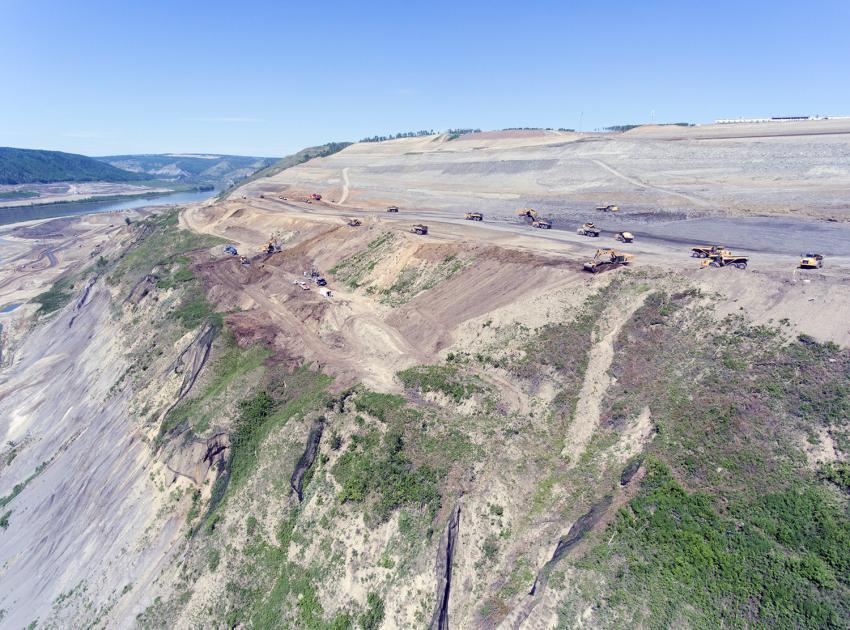North bank excavation, looking upstream (May 2018)