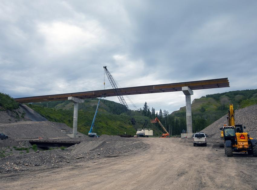 Structural steel is installed for the Highway 29 Dry Creek bridge realignment. (August 2021)