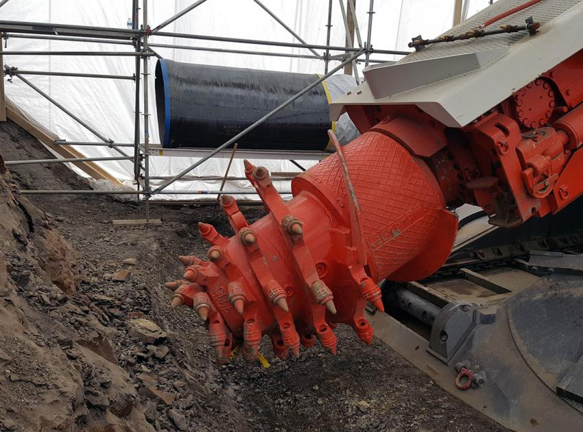 One of four roadheaders being used to excavate the diversion tunnels (December 2018)