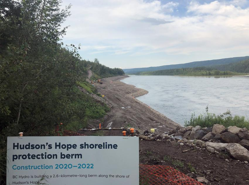 The east portion of the Hudson's Hope shoreline protection is being built. (July 2021)