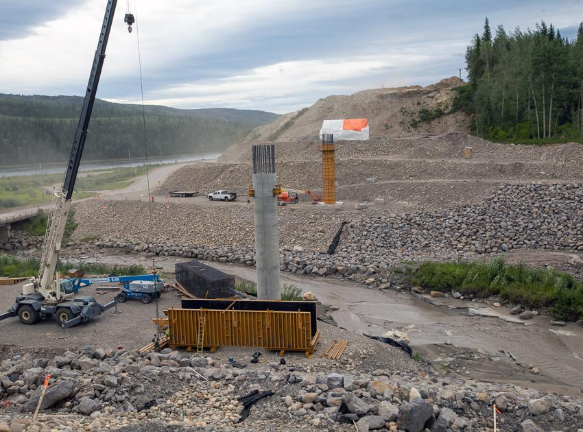 Construction of the concrete piers for the Lynx Creek bridge along Highway 29. (August 2021)