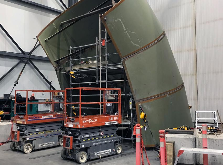 Segment 5 of a spiral case assembly, which is welded in a vertical orientation at a fabrication facility in Fort St. John. (Spring 2019)