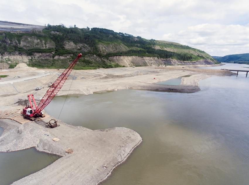 North bank dredging, looking downstream (June 2018)
