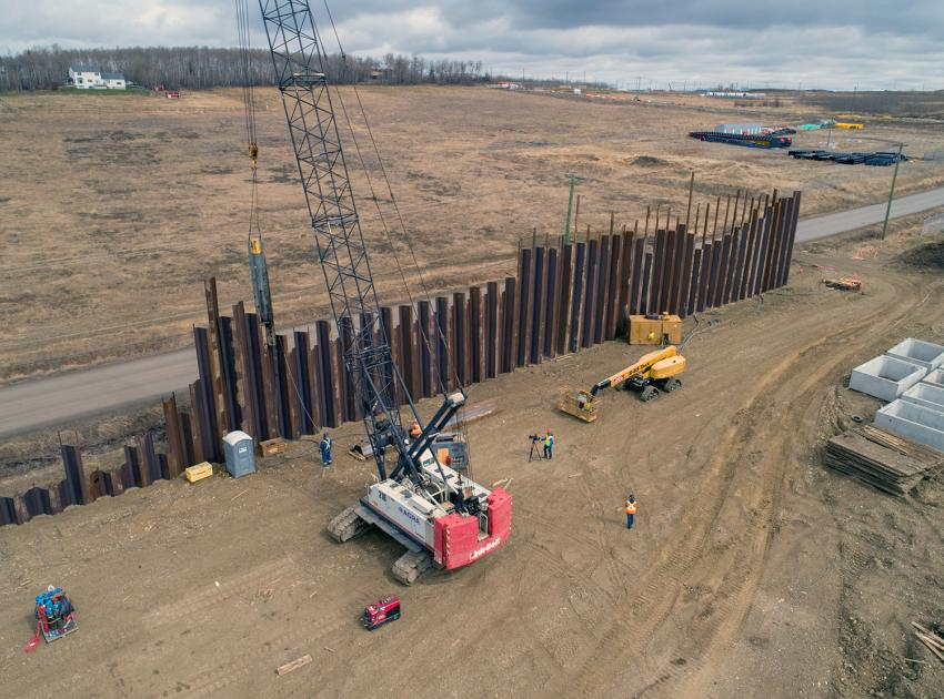 This pile wall at the industrial lands on Old Fort Rd., will support the 5-kilometre-long conveyor belt that will move till material to site. (Spring 2019)