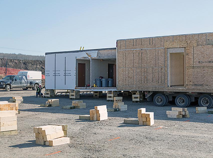 North bank trailer delivery and set-up for AFDE offices (April 2018)