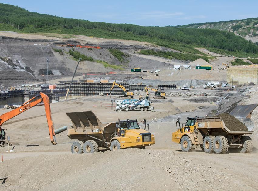 RCC stilling basin construction on the south bank (June 2018)