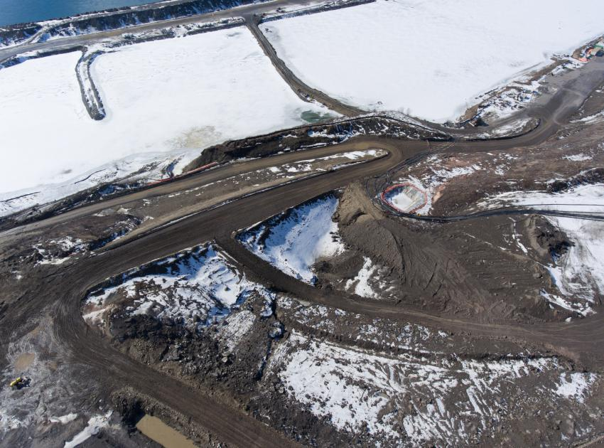 Aerial view of remediation for the tension crack on the north bank. (March 2017)