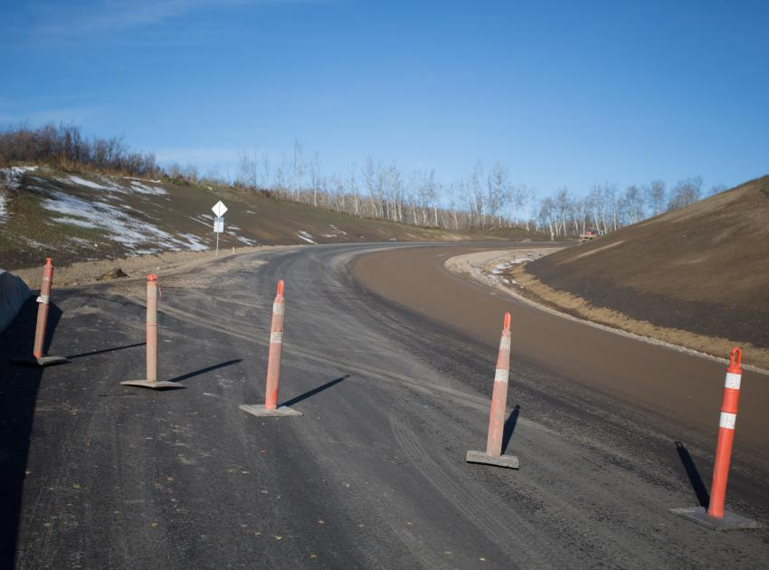 Old Fort Road improvements continue, including bottom lift paving of the realignment south of 240 Road. (October 2016)