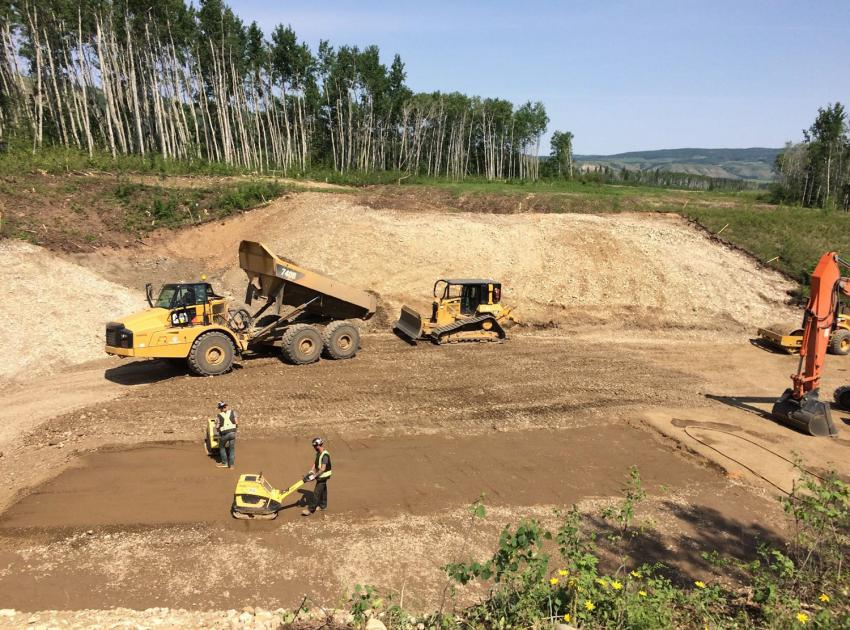 Grading and leveling is occurring on the new alignment of Highway 29 at Cache Creek West. (June 2019)