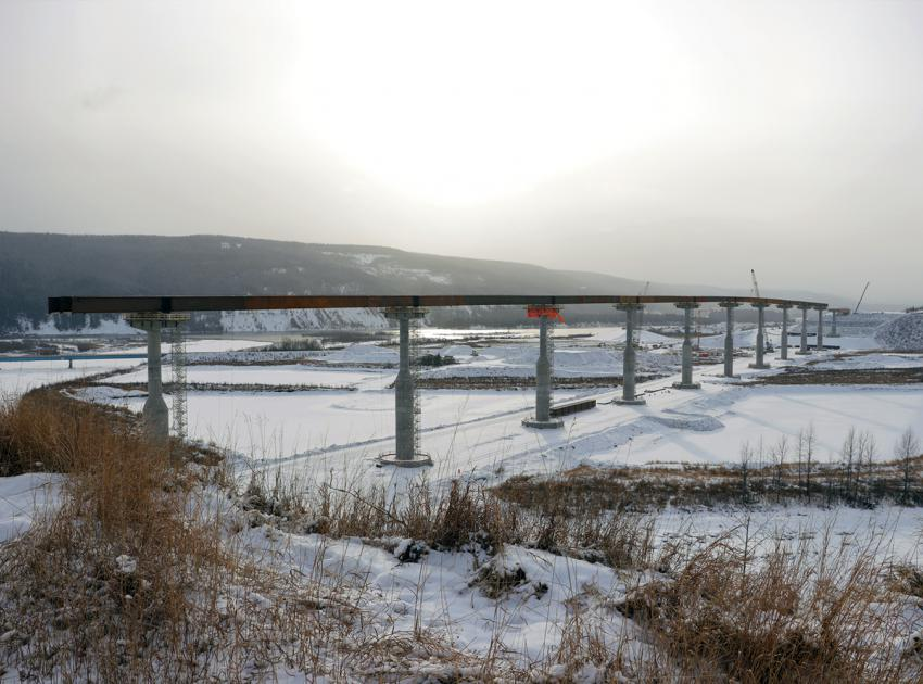 All twelve bridge piers for the Halfway River are now complete and steel girders are being installed on top.