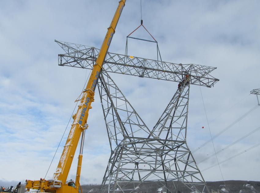 The last of 205 transmission towers on the second transmission line was completed at the end of March – eight months ahead of schedule.