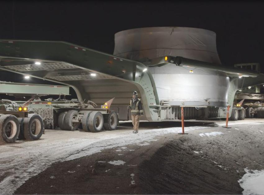 The first turbine runner arrived at the Site C project on January 17, 2021, after traveling by ship from São Paulo, Brazil. The 170-tonne runner was shipped to Prince Rupert and then transported to site by truck. (January 2021)