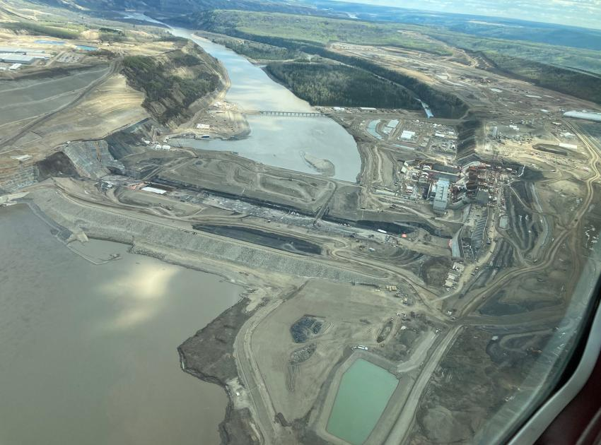 An aerial view of the dam site area. Construction on the Site C project began in July 2015. (May 2021)