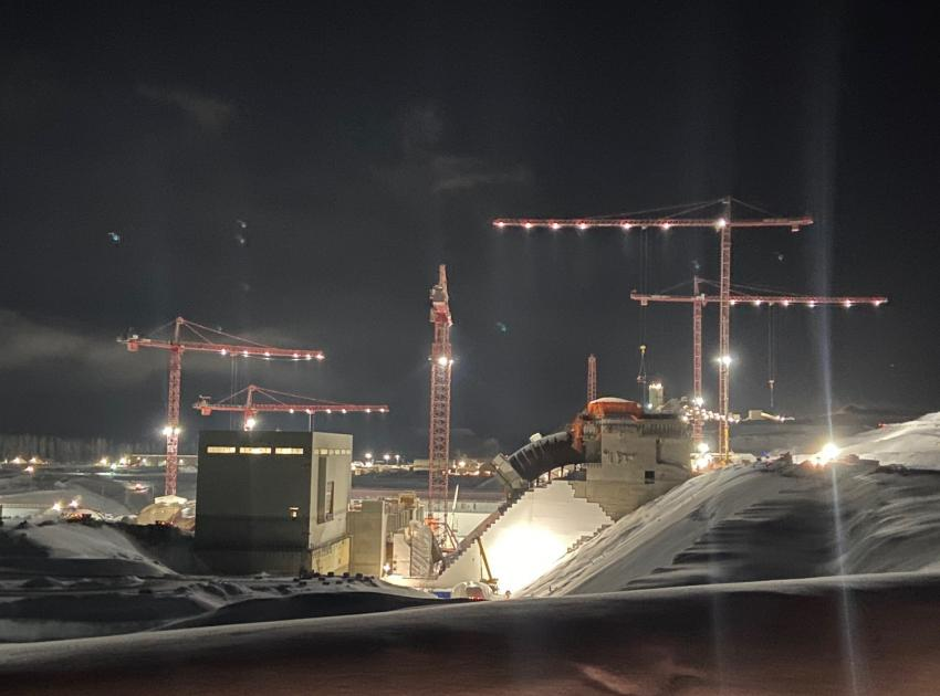 As a 24/7 operation, work at Site C continues through the night (March 2020)