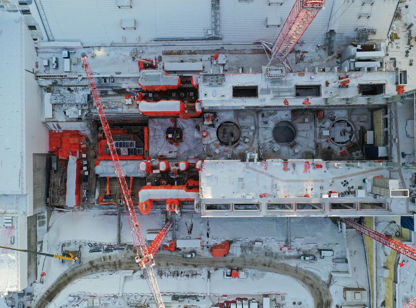 Overhead view of the powerhouse (January 2020)