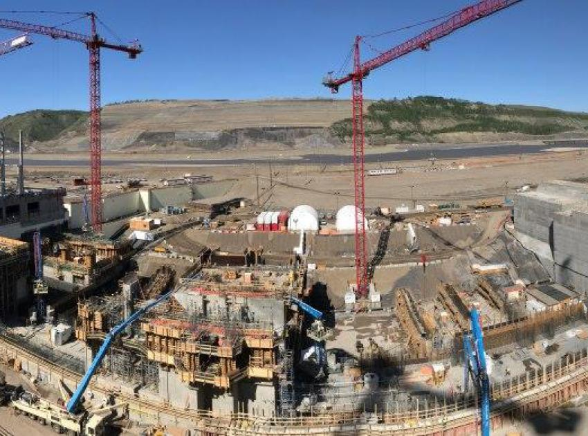A panoramic view from the top of our powerhouse buttress shows the Site C generating station under construction. (May 2019)