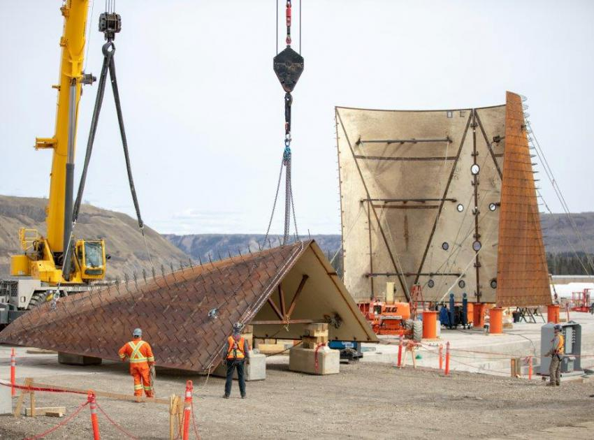After moving individual sections from a fabrication shop in Fort St John, we assemble the penstocks on site. This is one of six transition pieces which will funnel water from the river into our generating station. (May 2019)