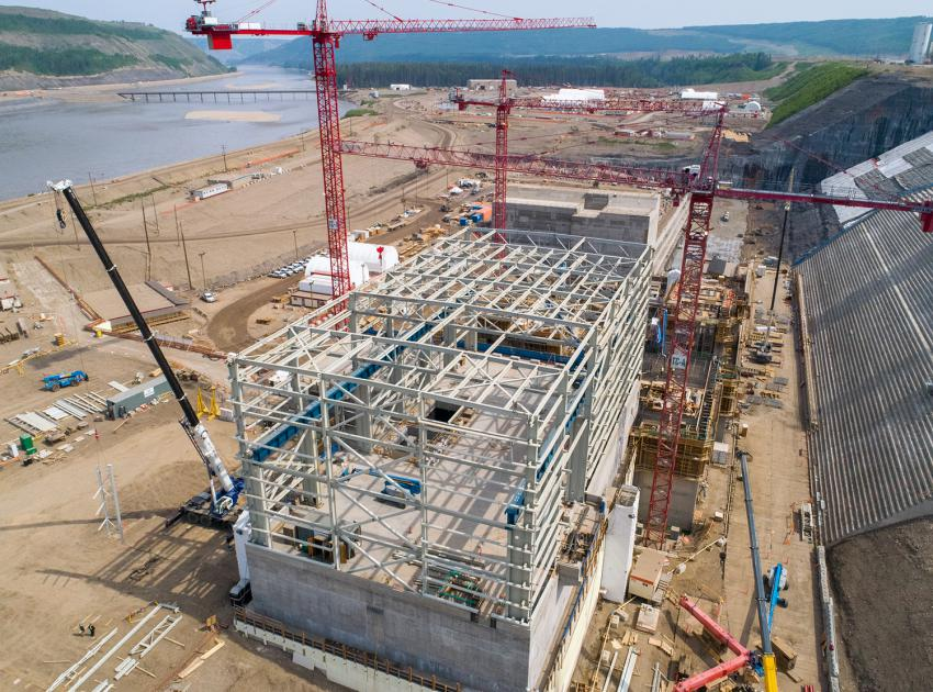 Construction continues on the service bay and powerhouse (May 2019)