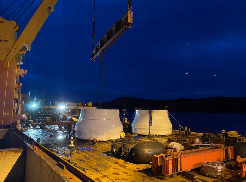 The first turbine runners arrive in Prince Rupert from Sao Paulo, Brazil. (December 2020)