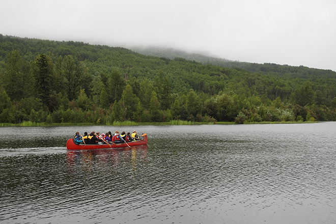 Youth canoeing on Cameron Lake this summer as part of a Fort St. John Métis Society program.